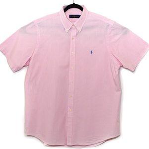 Ralph Lauren Polo  Pink and White Linen  Shirt XL